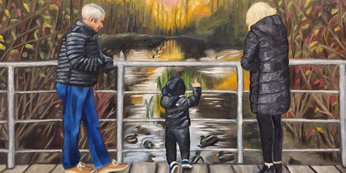 """Nana and Oopi with Landon at the Duck Pond, Oil, 12"""" x 16"""""""